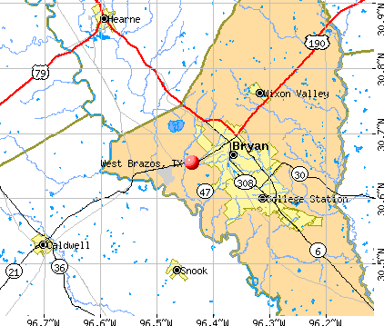 West Brazos, TX map