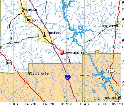 Verbena, AL map