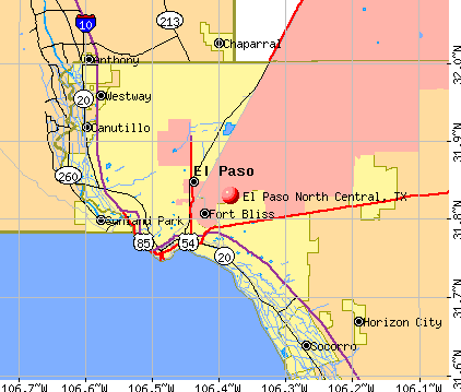 El Paso North Central, Texas (TX) profile: population, maps, real