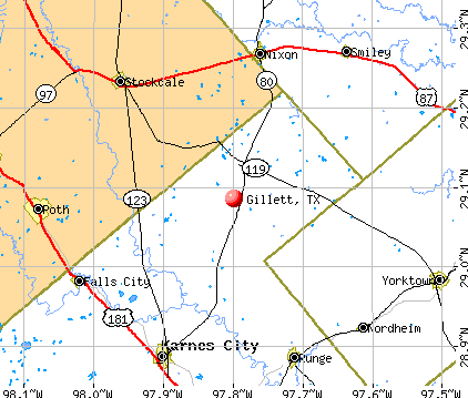 Gillett, TX map