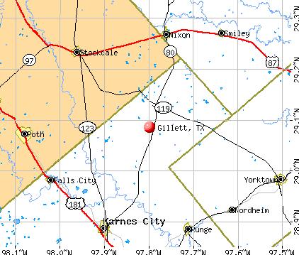 Gillett, TX map