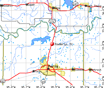 Powderly, TX map