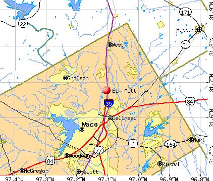 Elm Mott, TX map