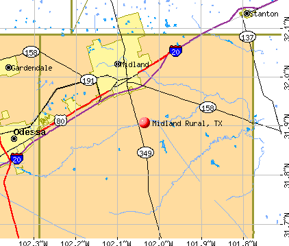 Midland Rural, TX map