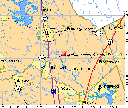 Southeast Montgomery, TX map