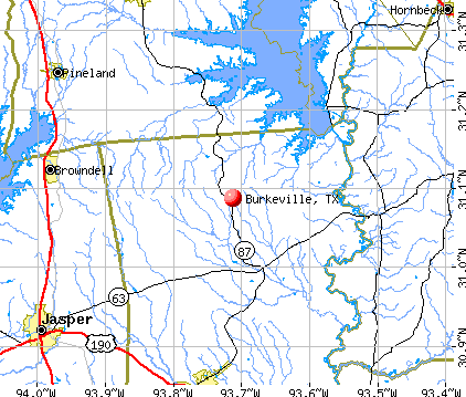 Burkeville, TX map