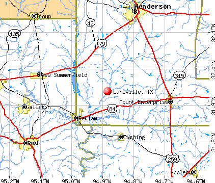 Laneville, TX map