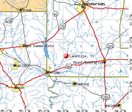 Laneville, TX map