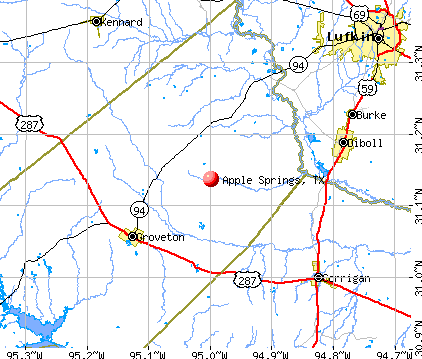 Apple Springs, TX map