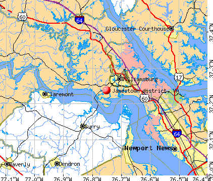 Jamestown district, VA map