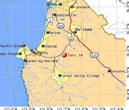 Toro, CA map