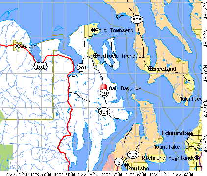 Oak Bay, WA map