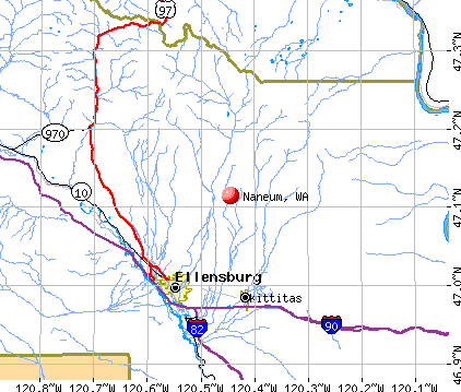 Naneum, WA map