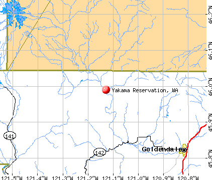 Yakama Reservation, WA map