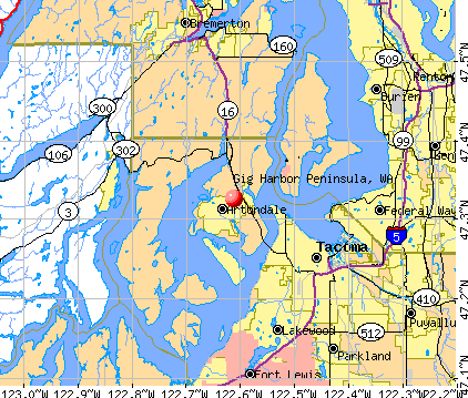 Gig Harbor Peninsula, WA map