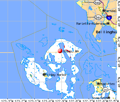 Orcas, WA map