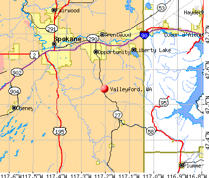 Valleyford, WA map