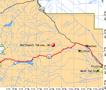 Northwest Yakima, WA map