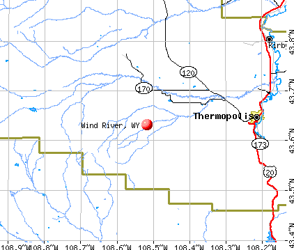 Wind River, WY map