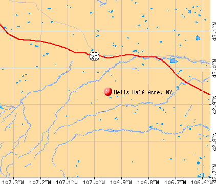 Hells Half Acre, WY map