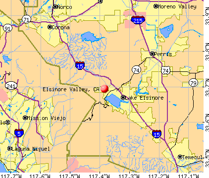 Elsinore Valley, CA map