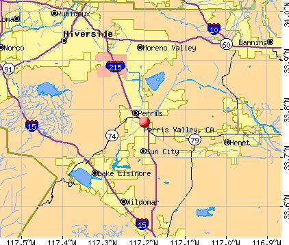 Perris Valley, CA map