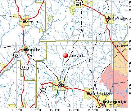 Jack, AL map
