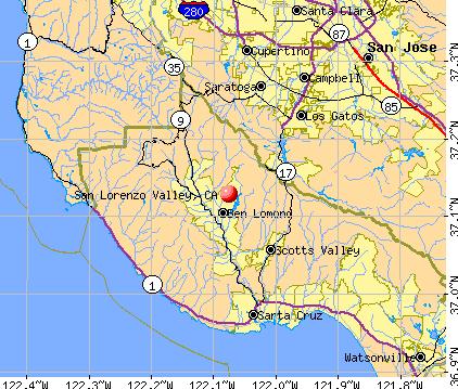 San Lorenzo Valley, CA map
