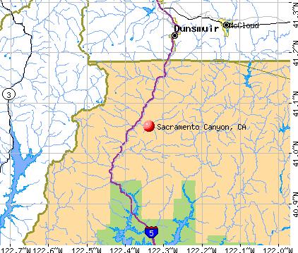 Sacramento Canyon, CA map
