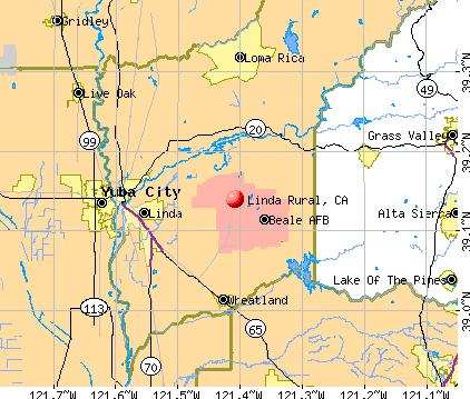 Linda Rural, CA map