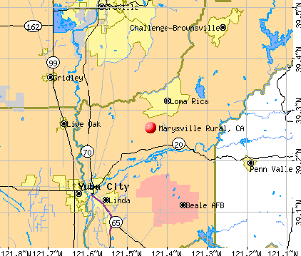 Marysville Rural, CA map