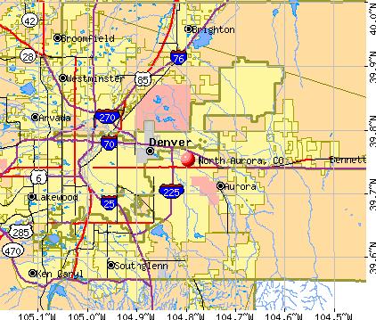 North Aurora, CO map