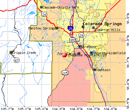 Cheyenne Mountain, CO map