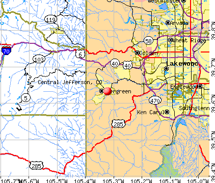 Central Jefferson, CO map
