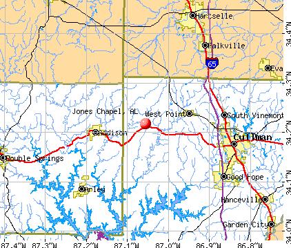 Jones Chapel, AL map