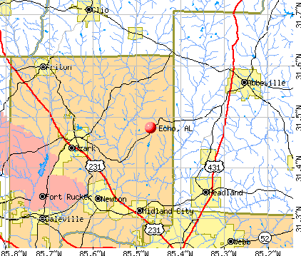Echo, AL map