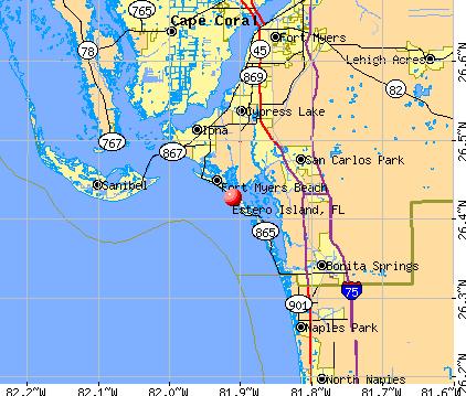 Estero Island, FL map