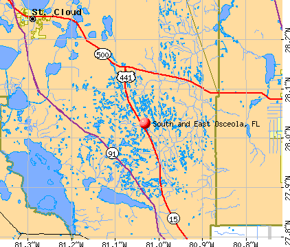 South and East Osceola, FL map