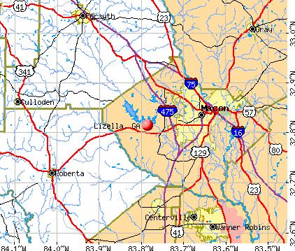 Lizella, GA map