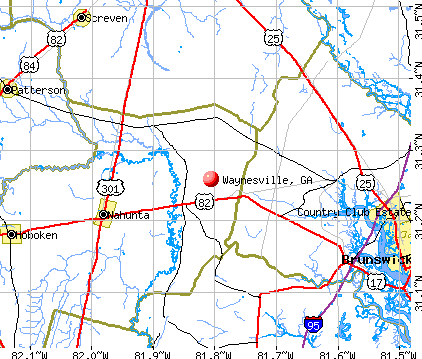 Waynesville, GA map
