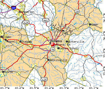 General Map; Google Map; MSN Map. Athens, GA map