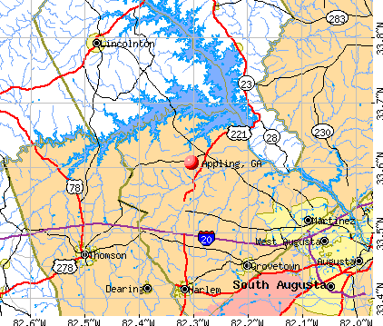 Appling, GA map