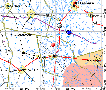 Canoochee, GA map