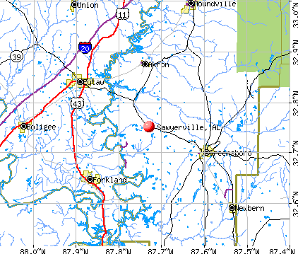 Sawyerville, AL map