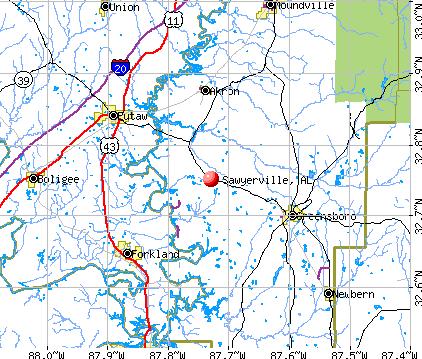 Sawyerville, AL map