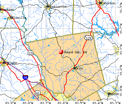 Round Oak, GA map