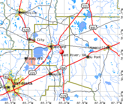 East River, GA map
