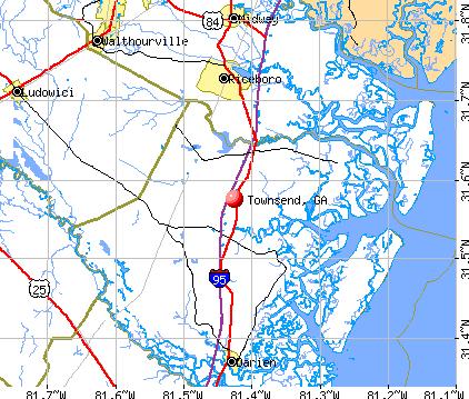 Townsend, GA map