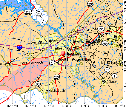 Map Of Augusta Ga And Surrounding Area  Dog Breeds Picture