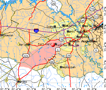 Fort Gordon, GA map